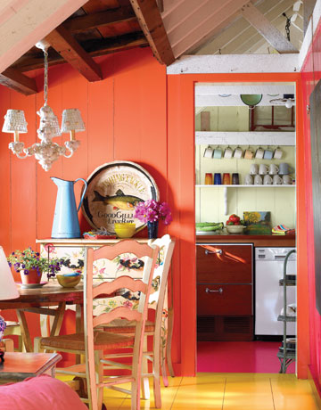 tiny space design colorful kitchen